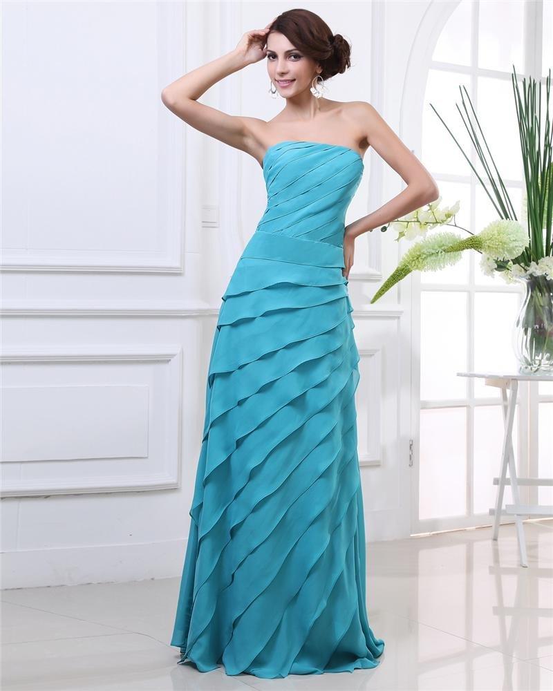 Strapless Ruffles Floor Length Pleated Chiffon Women Evening Dress