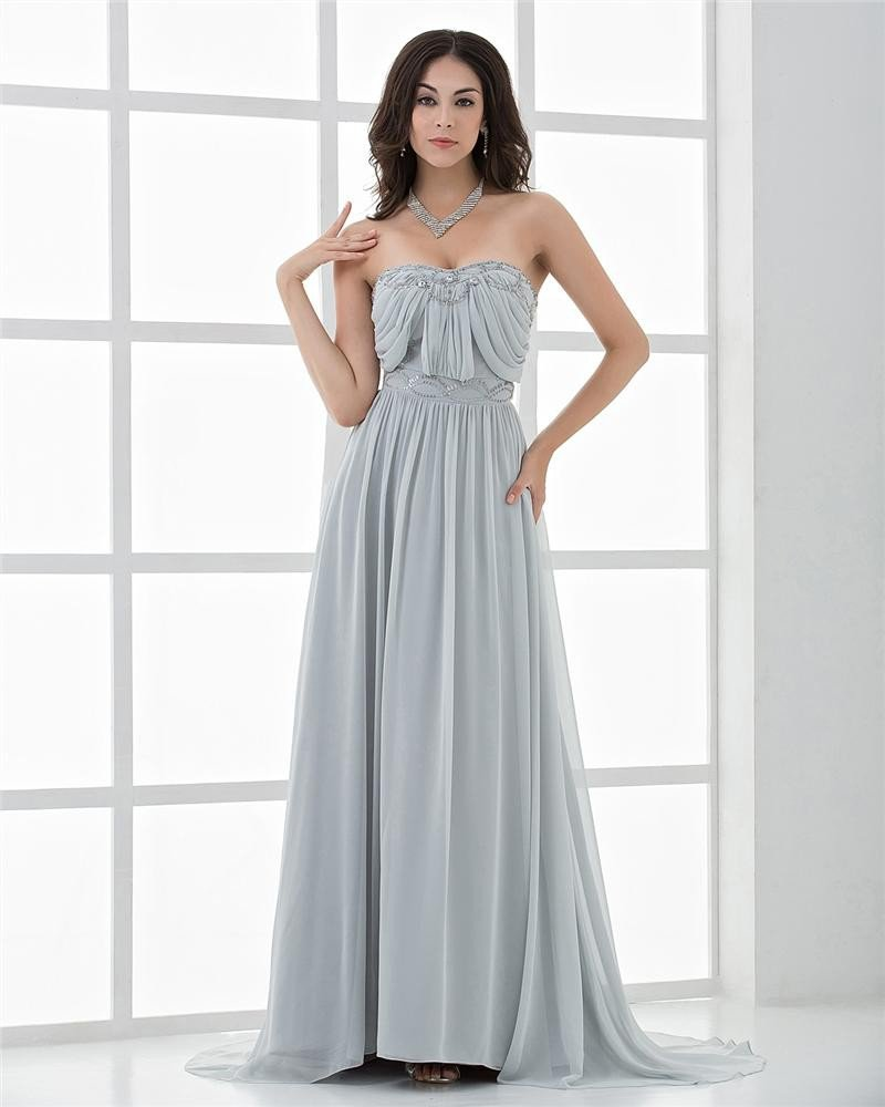 Elegant Sweetheart Floor Length Beading Pleated Chiffon Celebrity Dresses