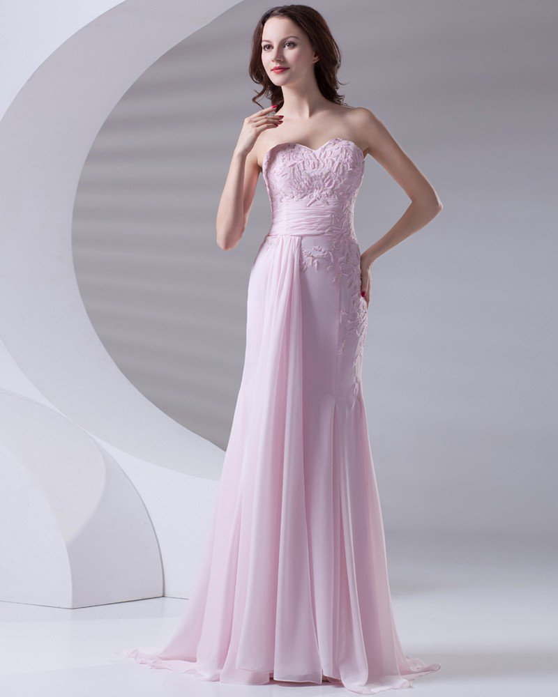 Sweetheart Floor Length Beading Pleated Chiffon Woman Evening Dress