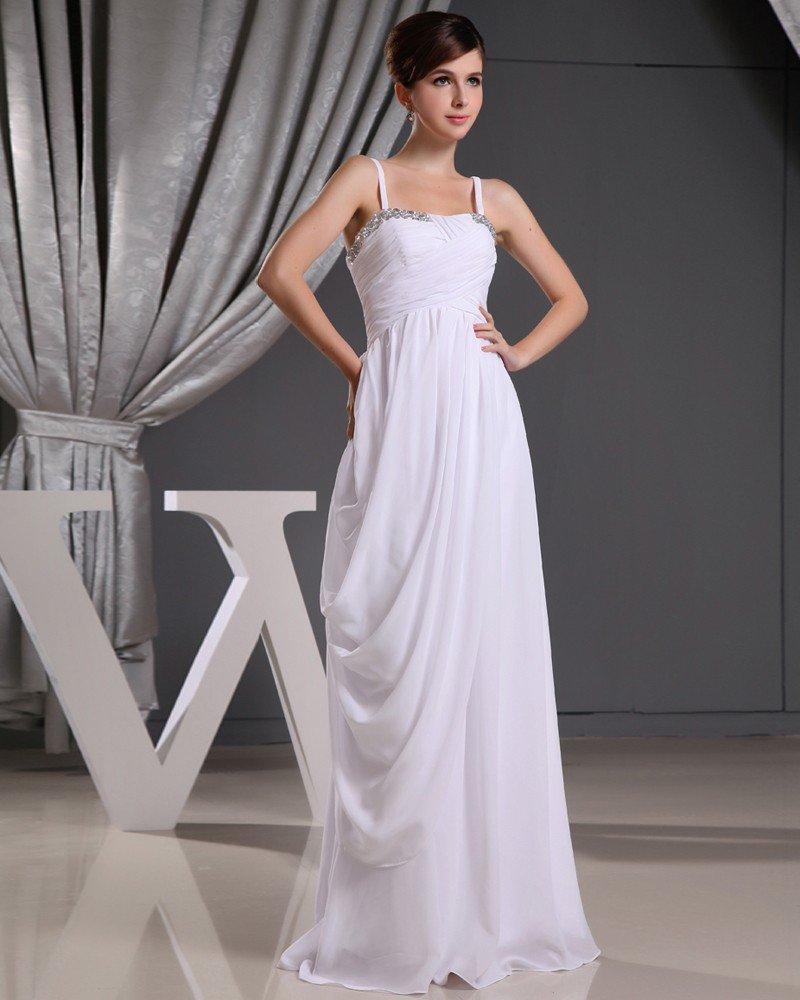 Fashion Chiffon Charmeuse Silk Beaded Pleated Spaghetti Straps Floor Length Sleeveless Women Evening