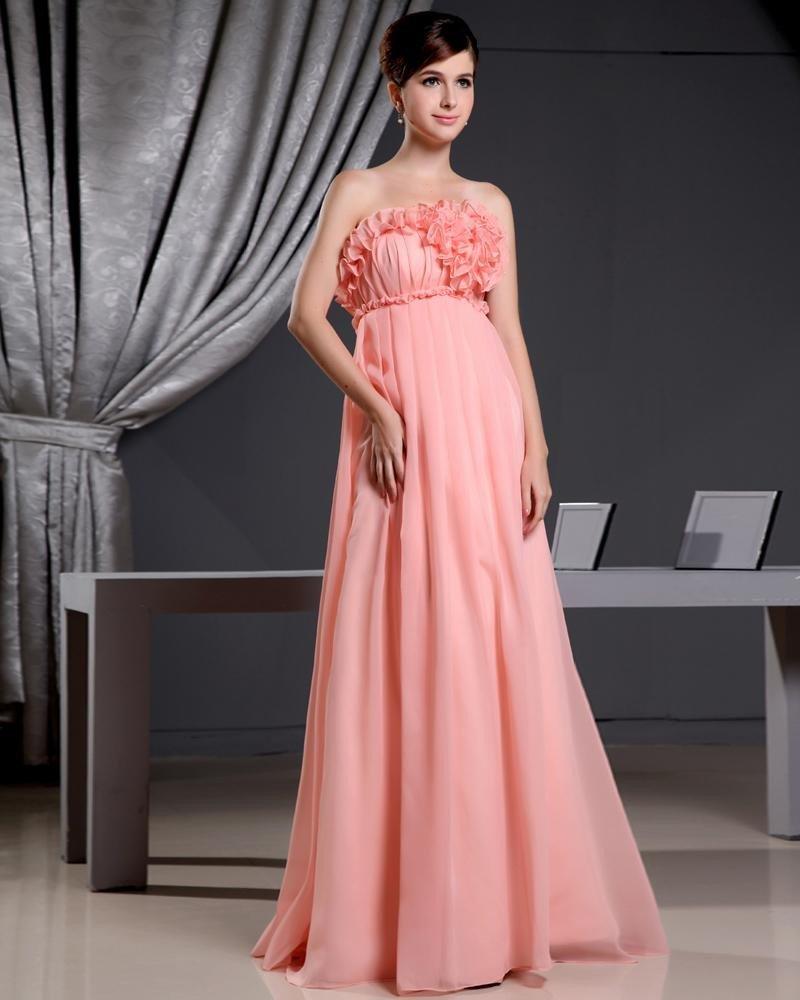 Chiffon Elastic Silk Like Satin Silk Strapless Flower Sleeveless Backless Floor Length Pleated Celeb