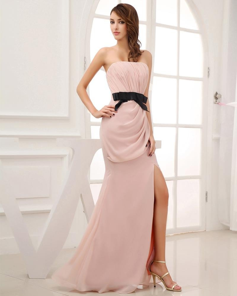 Silk Like Satin Chiffon Silk Bow Ruffle Strapless Sleeveless Backless Zipper Floor Length Evening Dr