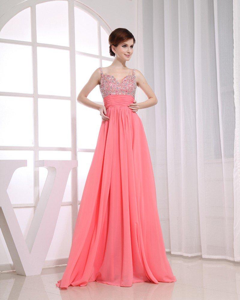 Sweetheart Neckline Floor Length Sleeveless Beading Pleated Chiffon Empire Woman Evening Dress