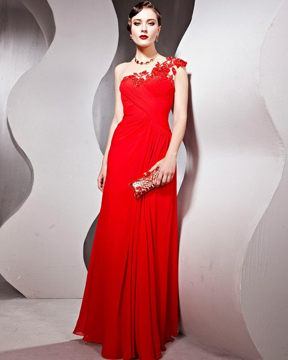 Tencel Tulle Charmeuse Beading One Shoulder Embroidery Floor Length Evening Dresses