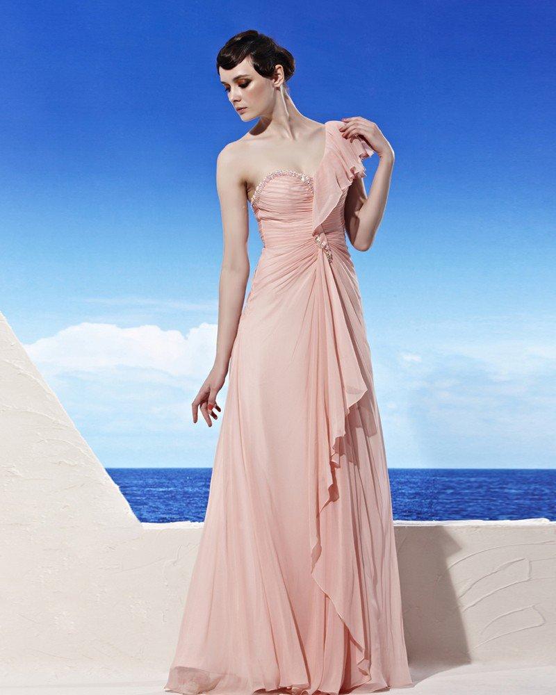 Sweetheart Neck One Shoulder Puff Sleeve Beading Zipper Floor Length Tencel Woman Evening Dresses
