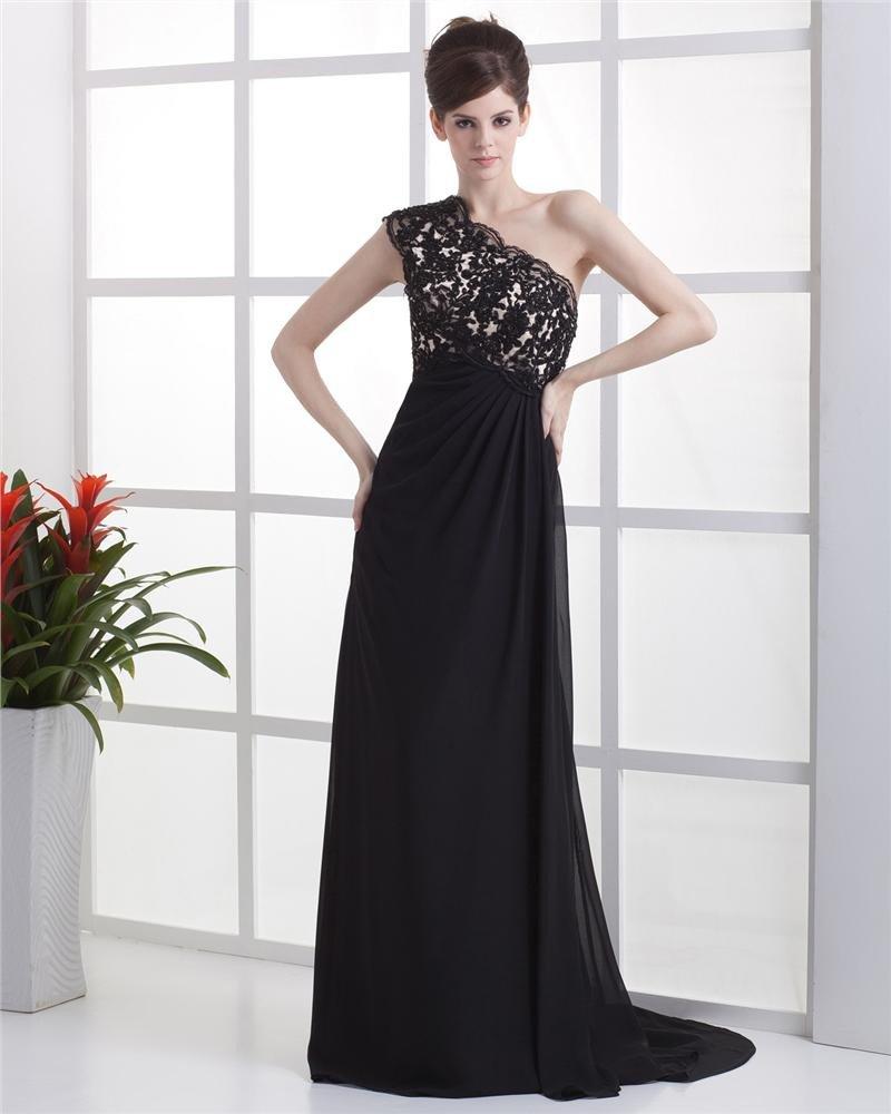 Empire One Shoulder Floor Length Chiffon Beading Ruffle Applique Women's Evening Dress
