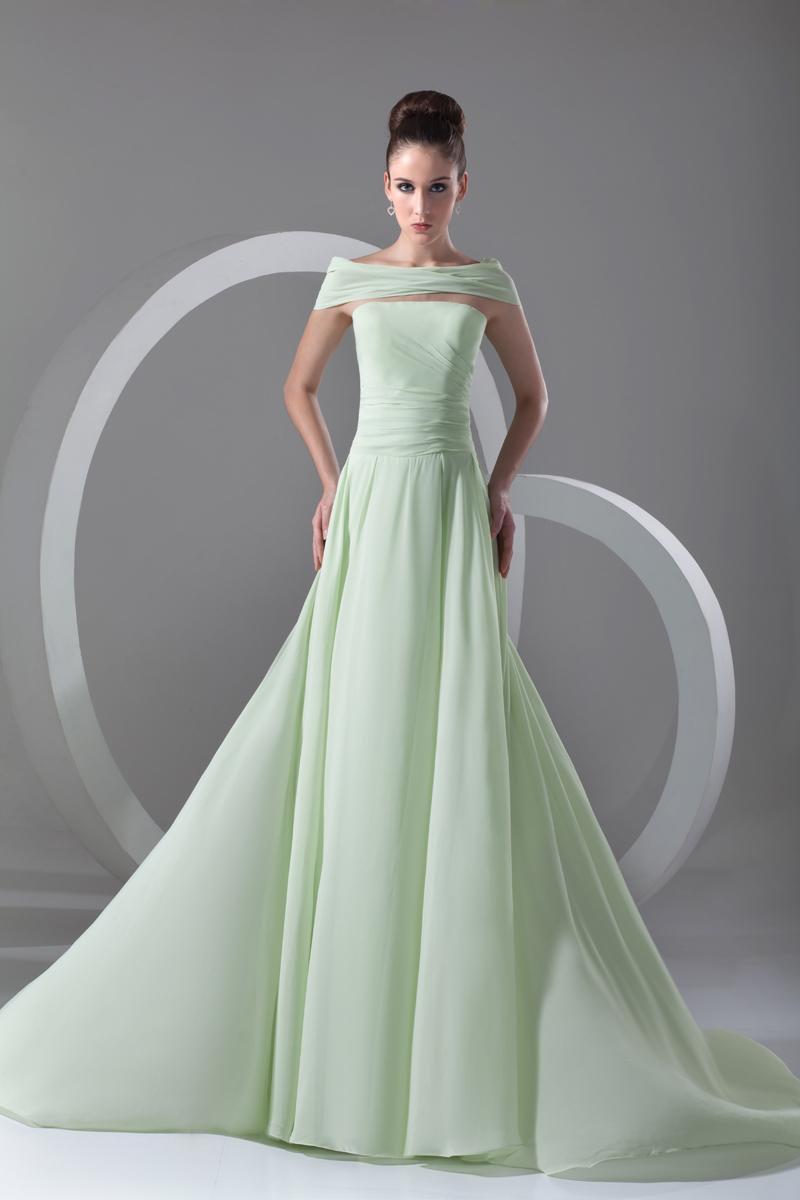 Strapless Pleated Floor Length Chiffon Evening Dress