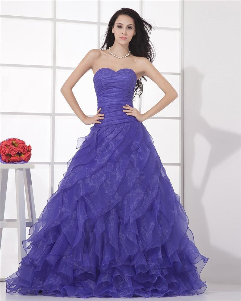 Fashion Ball Gown Sweetheart Gauze Sleeveless Floor Length Evening Dress