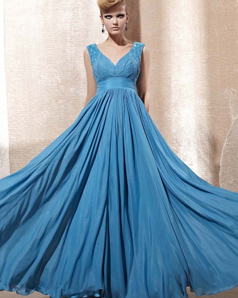 V Neck Beading Ruffle Sleeveless Zipper Floor Length Chiffon Woman Evening Dress