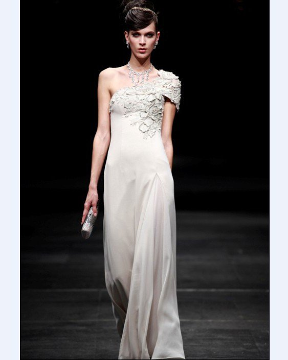Sloping Empire Composite Filament Floor Length Women's Evening Dress