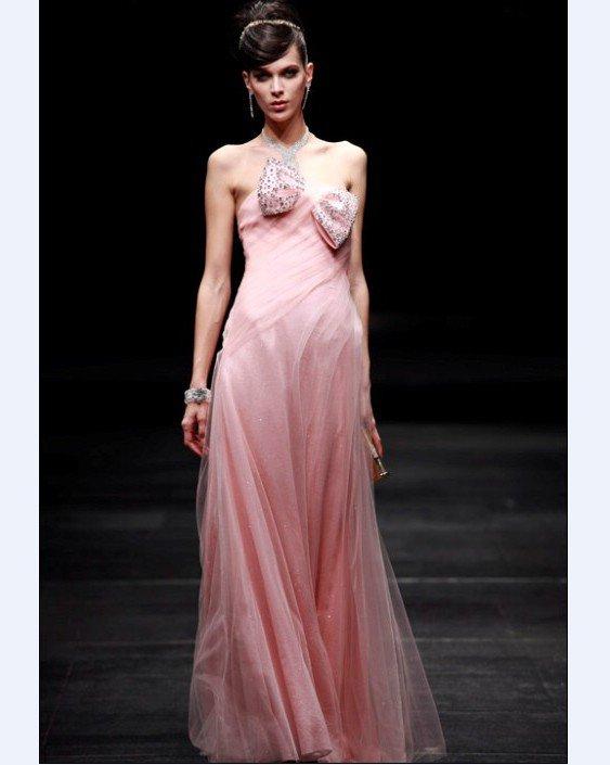 Bowknot Beading Strapless A-line Floor Length Women's Evening Dresses