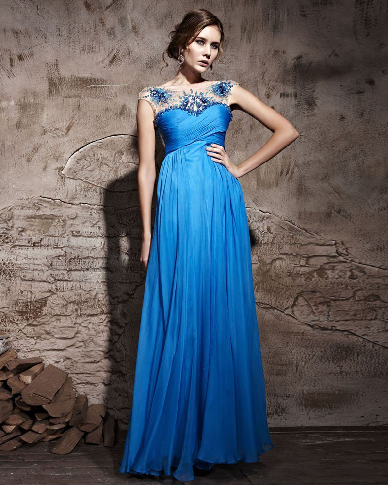 Tencel Floor Length Sleeveless Evening Dresses