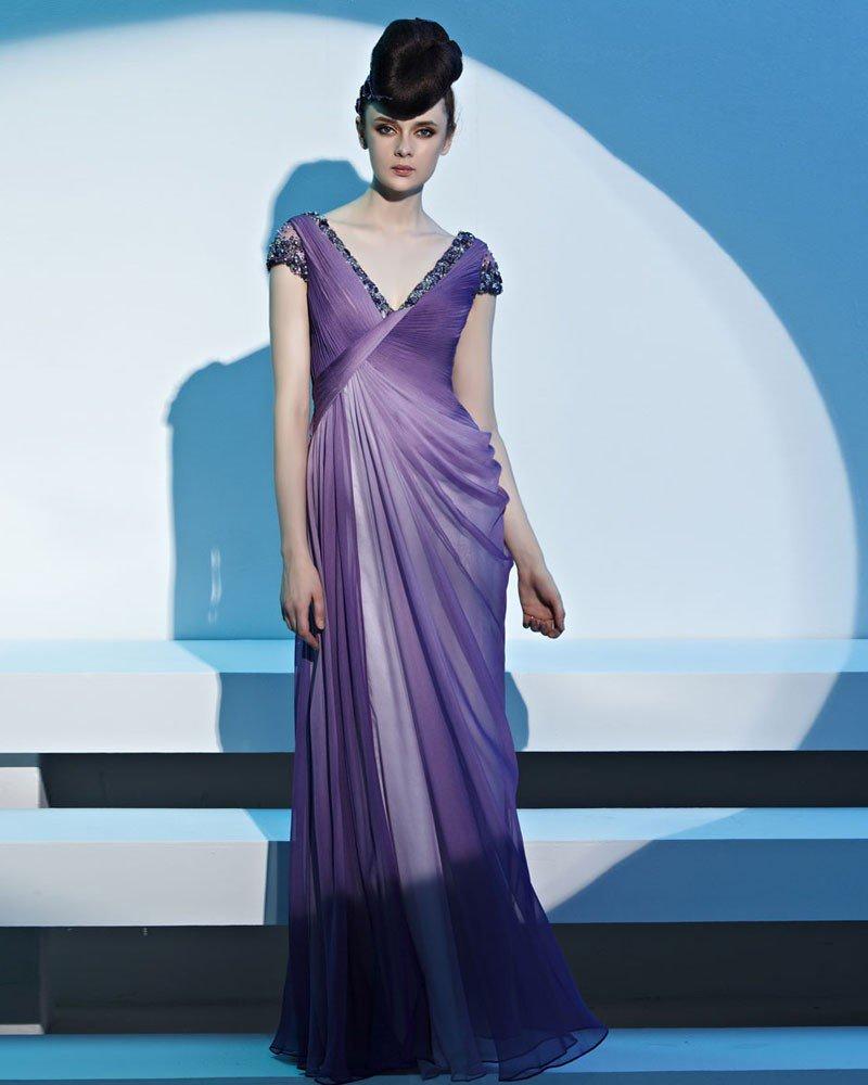 V Neck Beading Ruffle Sleeveless Backless Floor Length Tencel Woman Evening Dresses