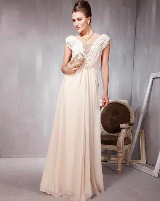 Lace Chiffon Charmeuse Beading V Neck Floor Length Evening Dresses