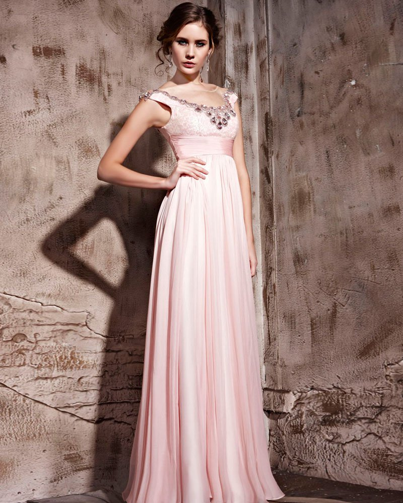 Tencel Floor Length Sleeveless Zipper Jewel Evening Dresses