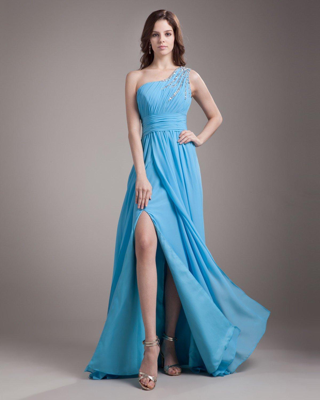 One Shoulder Floor Length Pleated Beading Chiffon Woman Evening Dress