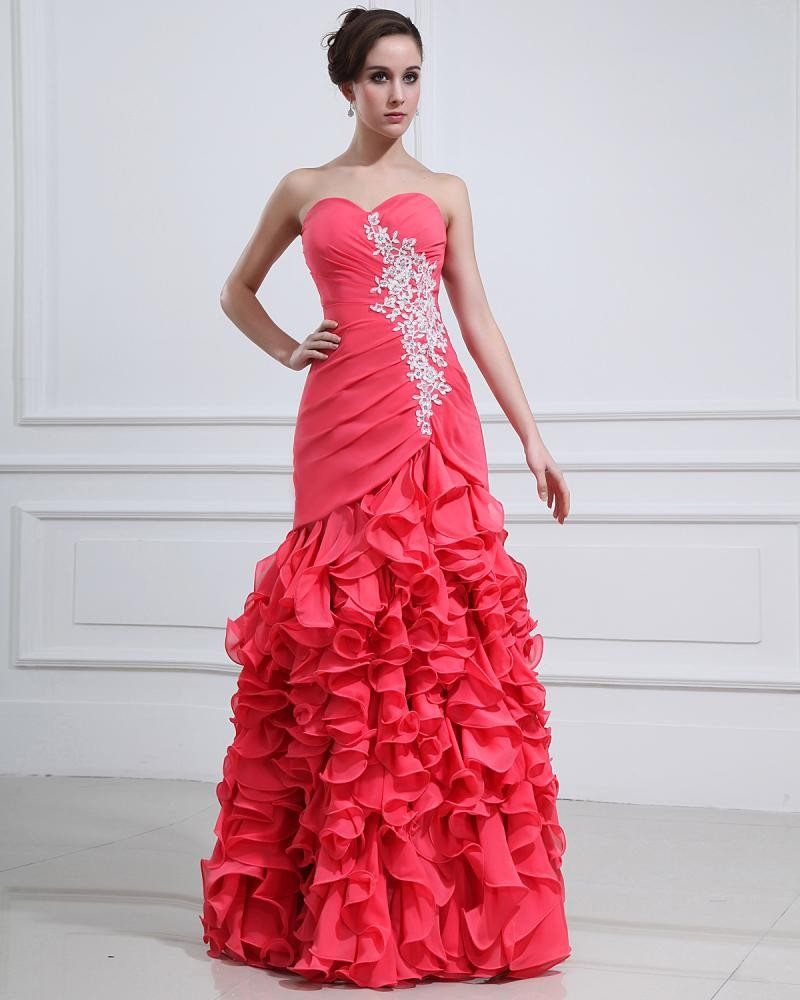 Chiffon Ruffle Floor Length Sweetheart pless Evening Dresses