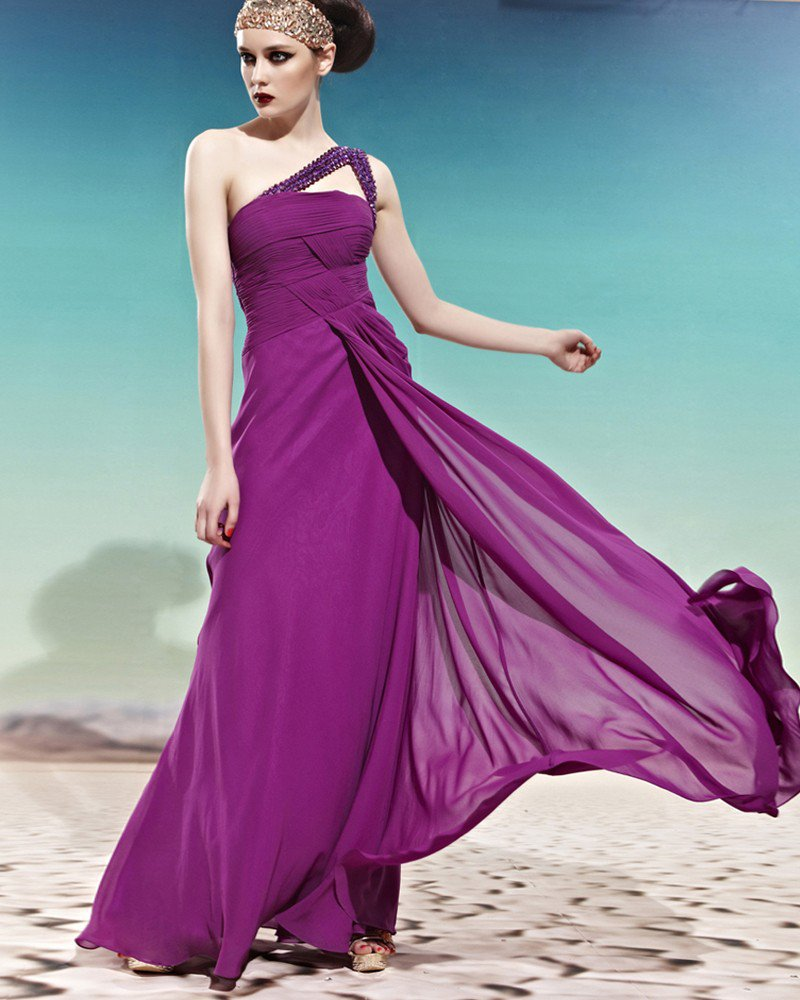 Strapless One Shoulder Beading Decorated Sleeveless Backless Floor Length Charmeuse Woman Evening Dr