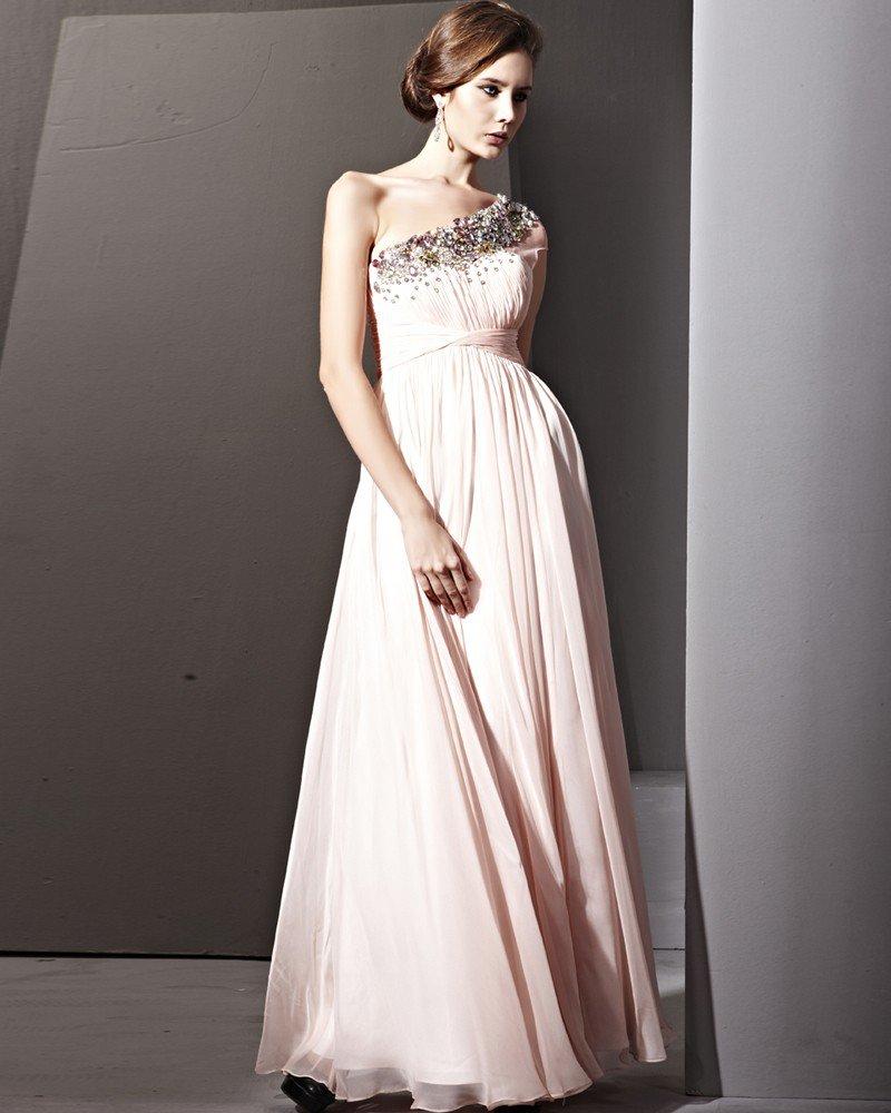 Tencel Floor Length Single Shoulder Zipper Evening Dresses