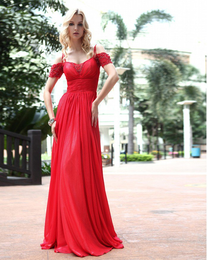 Silk Sweetheart Drape Bead Floor Length Evening Dress