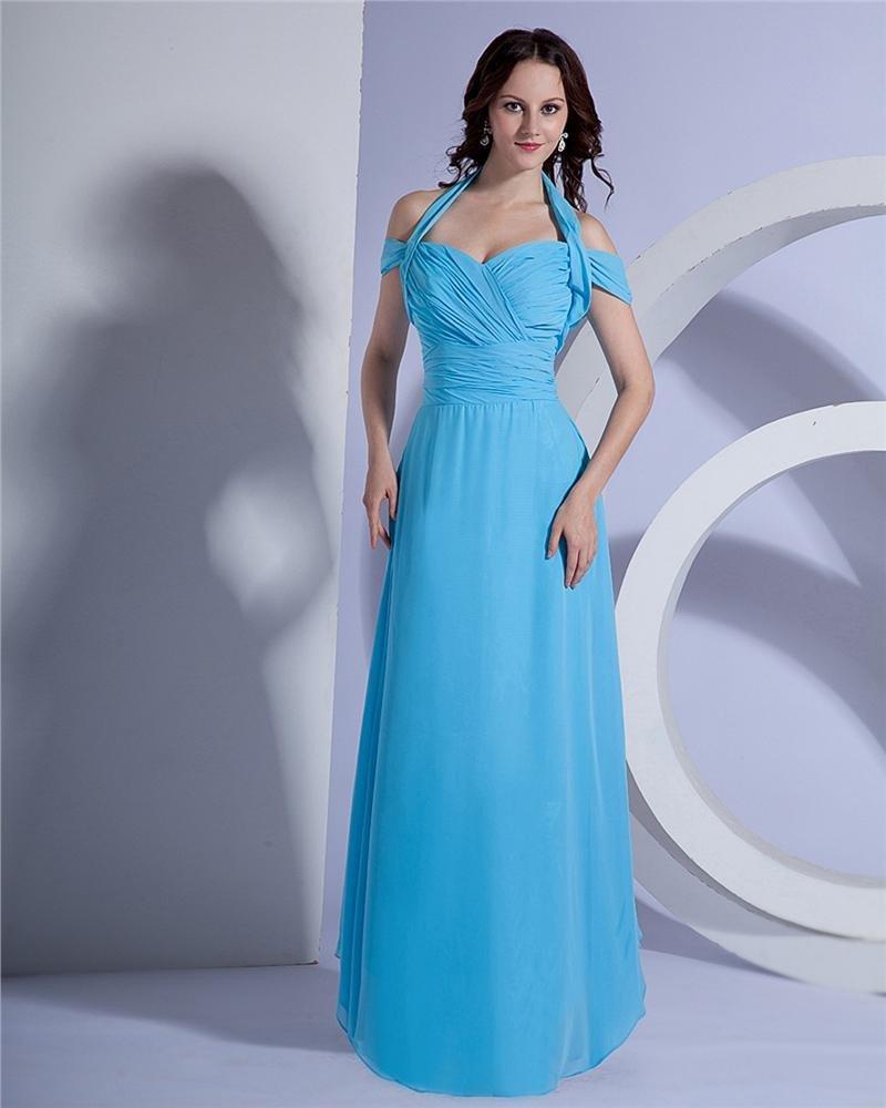 Chiffon Pleat Halter Floor Length Evening Dresses