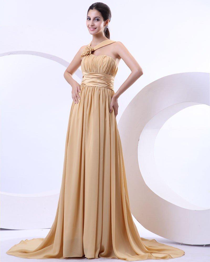 One Shoulder Ruffle Flower Chiffon Floor Length Women Evening Dresses