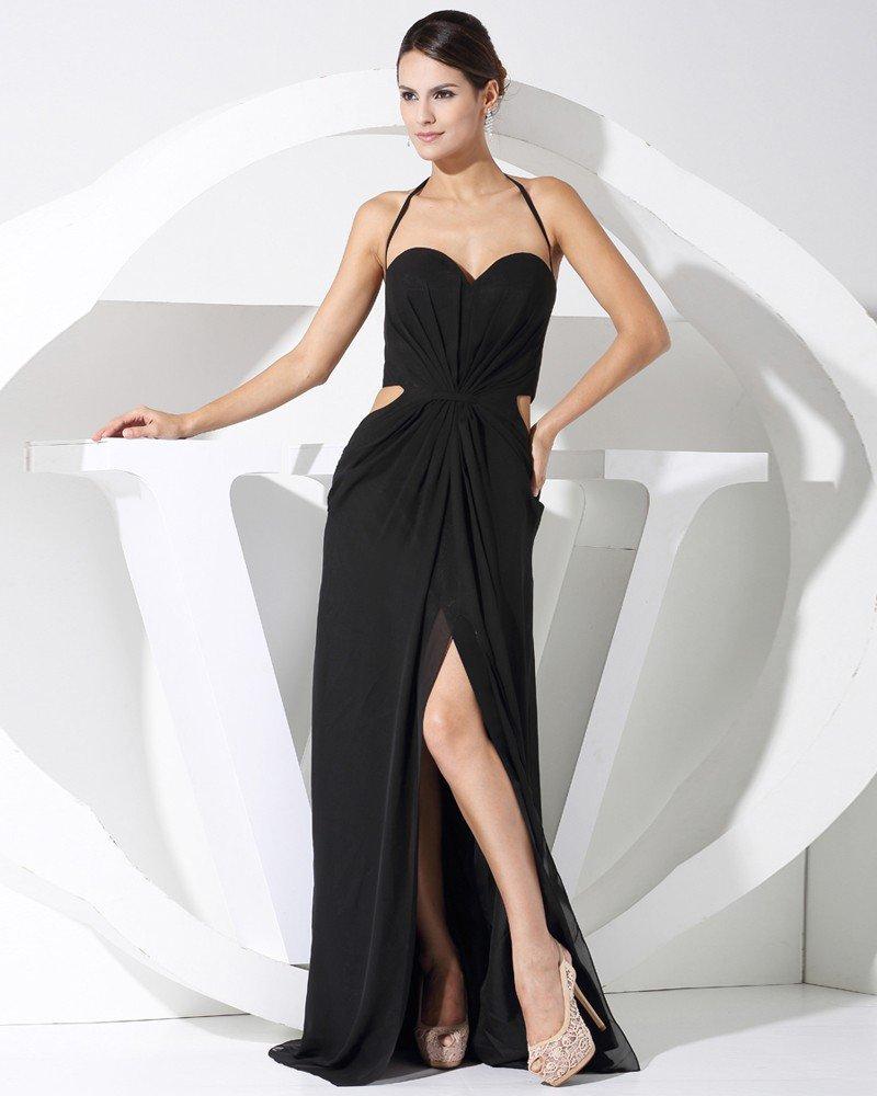 Fashion Chiffon Charmeuse Silk Solid Halter Sweetheart Court Train Sleeveless Women Evening Dress