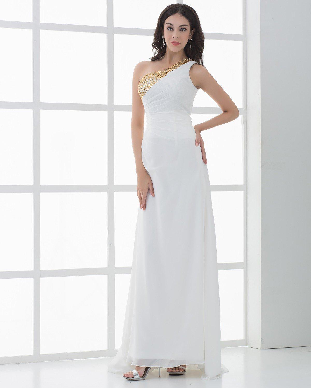 Chiffon Applique Beads One Shoulder Floor Length Prom Dress