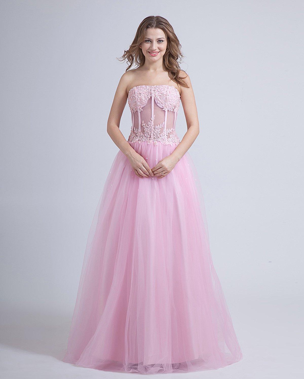Tulle Satin Strapless Ankle Length Prom Dresses