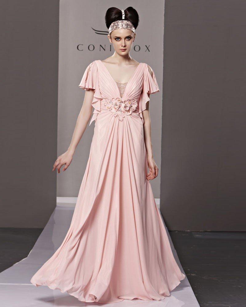 V Neck Flower Ruffle Short Sleeve Zipper Floor Length Chiffon Woman Evening Dress