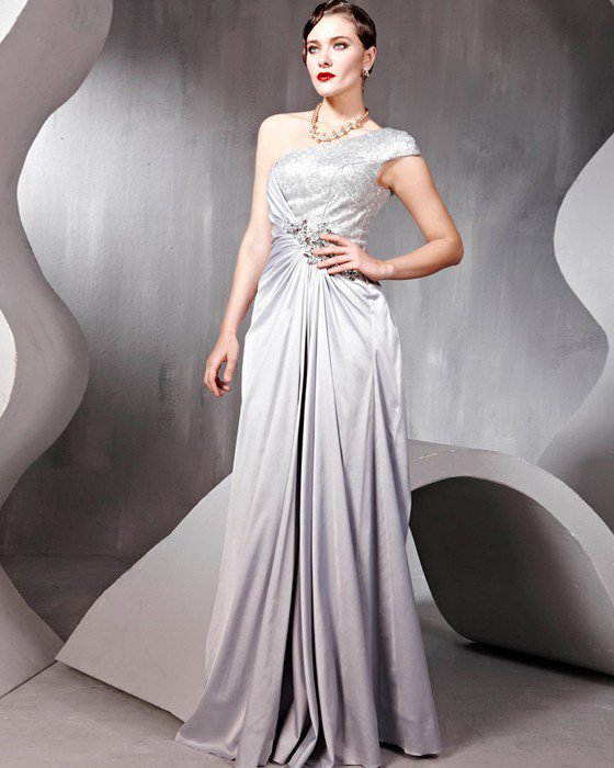 Beaded Pleated Sequin Tulle Imitated Silk Charmeuse One Shoulder Floor Length Evening Dresses