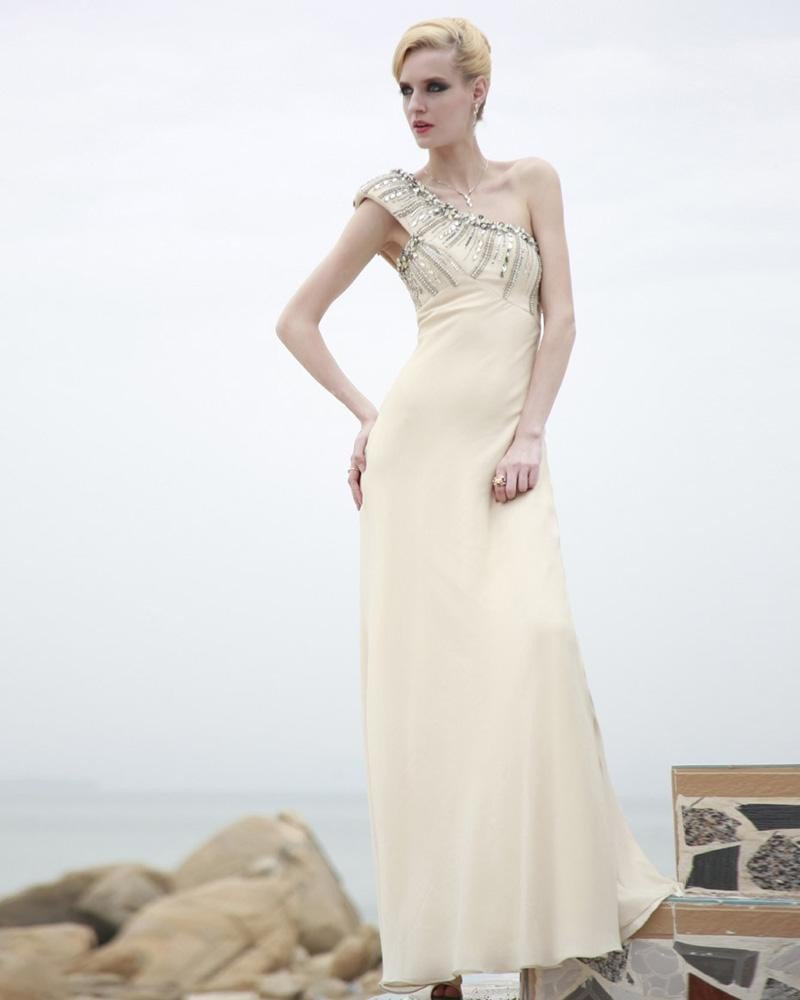 Charmeuse Silk Beading One Shoulder Ankle Length Evening Dresses