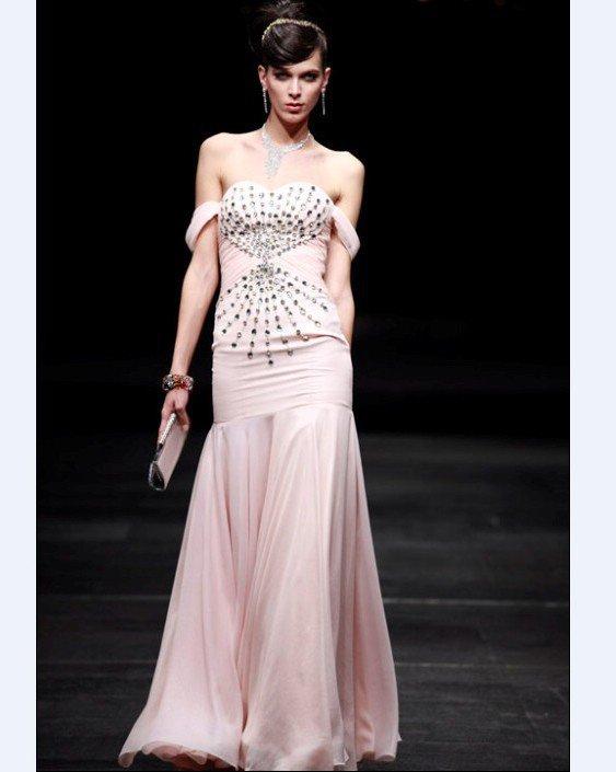 Off-The-Shoulder Floor-length Composite Filament Evening Dress