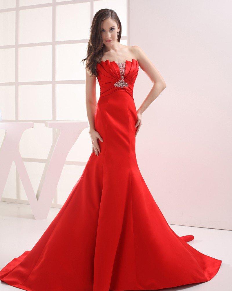 Fashion Satin Pleated Beading Strapless Floor Length Evening Dress
