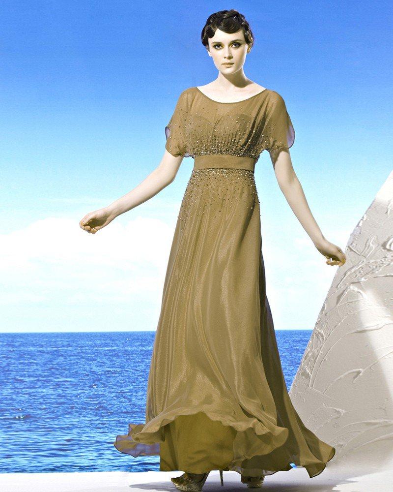 Round Neckline Petal Sleeve Floor Length Chiffon Beading Empire Woman Evening Dress