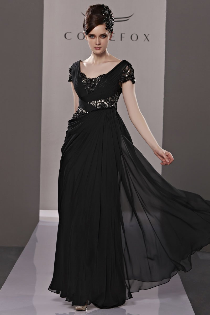 V Neck Beading Ruffle Short Sleeve Zipper Floor Length Tencel Woman Evening Dress