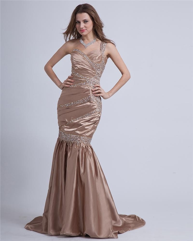 Taffeta Pleated Sweetheart One-Shoulder Floor Length Evening Dresses