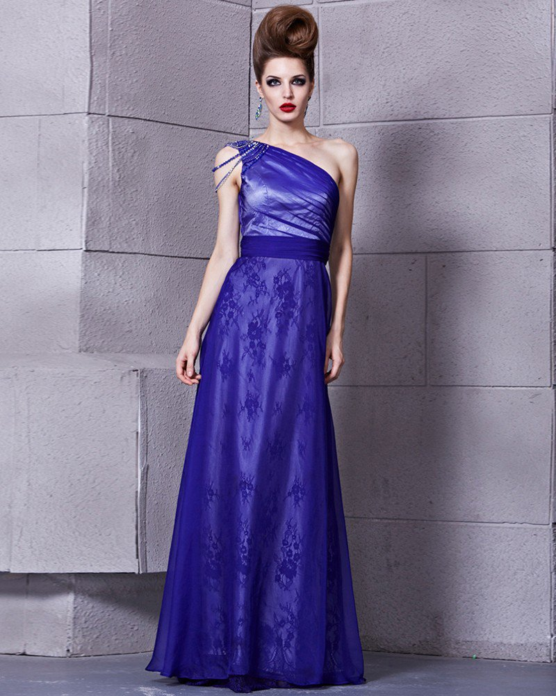 Fashion Tencel Charmeuse Beaded One Shoulder Sleeveless Floor Length Evening Dress
