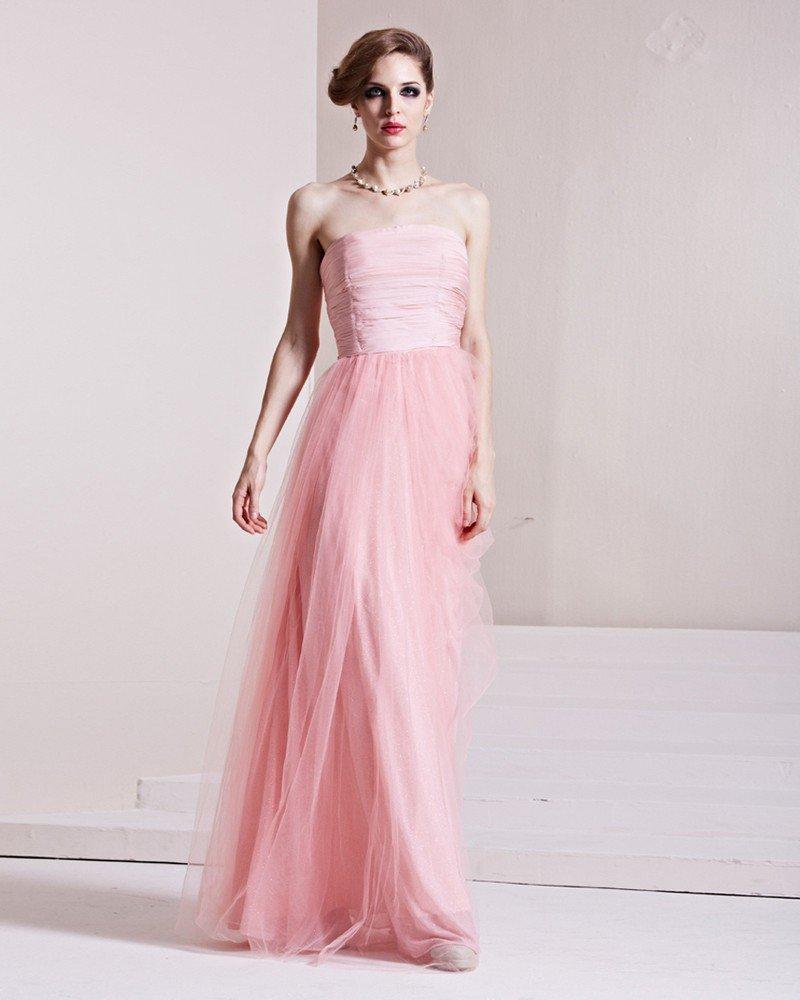 Elastic Silk Like Satin Charmeuse Gauze Ruffle Strapless Sleeveless Backless Floor Length Pleated Ev