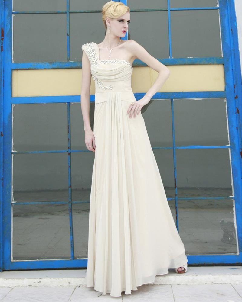 Silk Charmeuse Beading Pleated One Shoulder Floor Length Evening Dresses