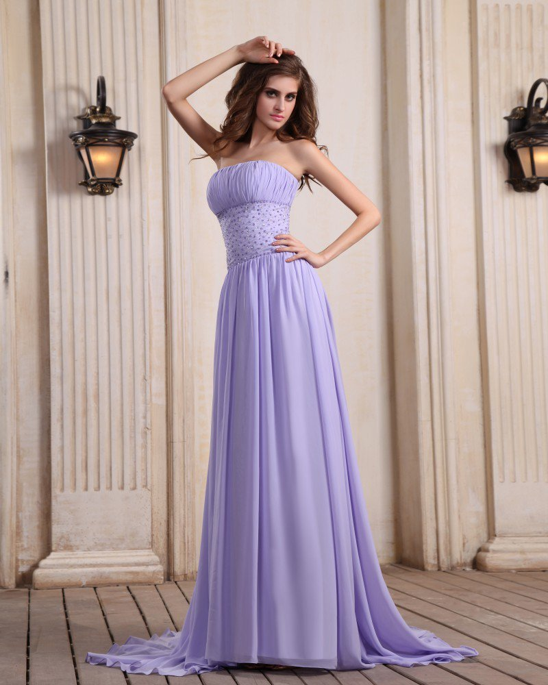 Designer Sleeveless Chiffon Beading Ruffles Strapless Chapel Train Evening Dresses