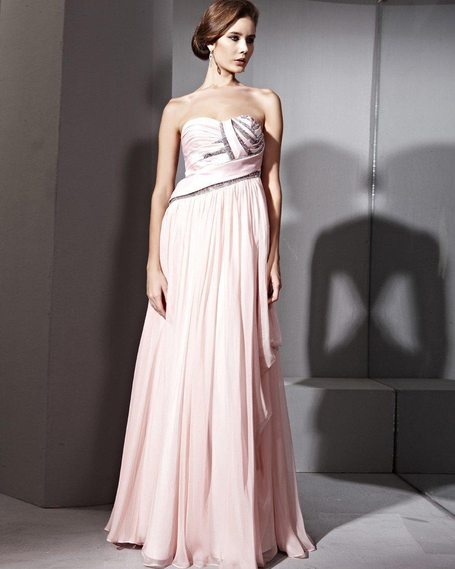 Empire Waist Rhinestone Tencel Satin Honed Floor Length Evening Dresses