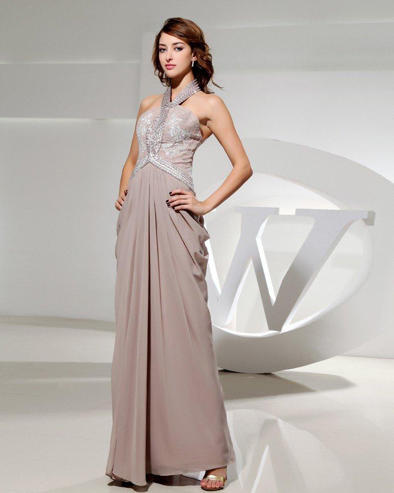 Halter Sleeveless Zipper Floor Length Ruffle Beading Chiffon Silk Woman Evening Dress