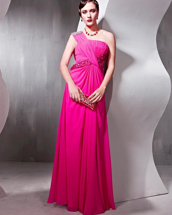 Sequin Tencel Charmeuse Beading One Shoulder Ruffle Floor Length Evening Dresses