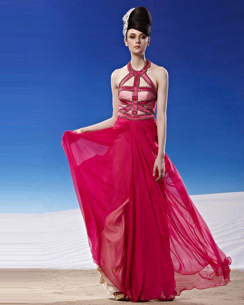 Fashion Halter Floor Length Beading Tencel Evening Dress