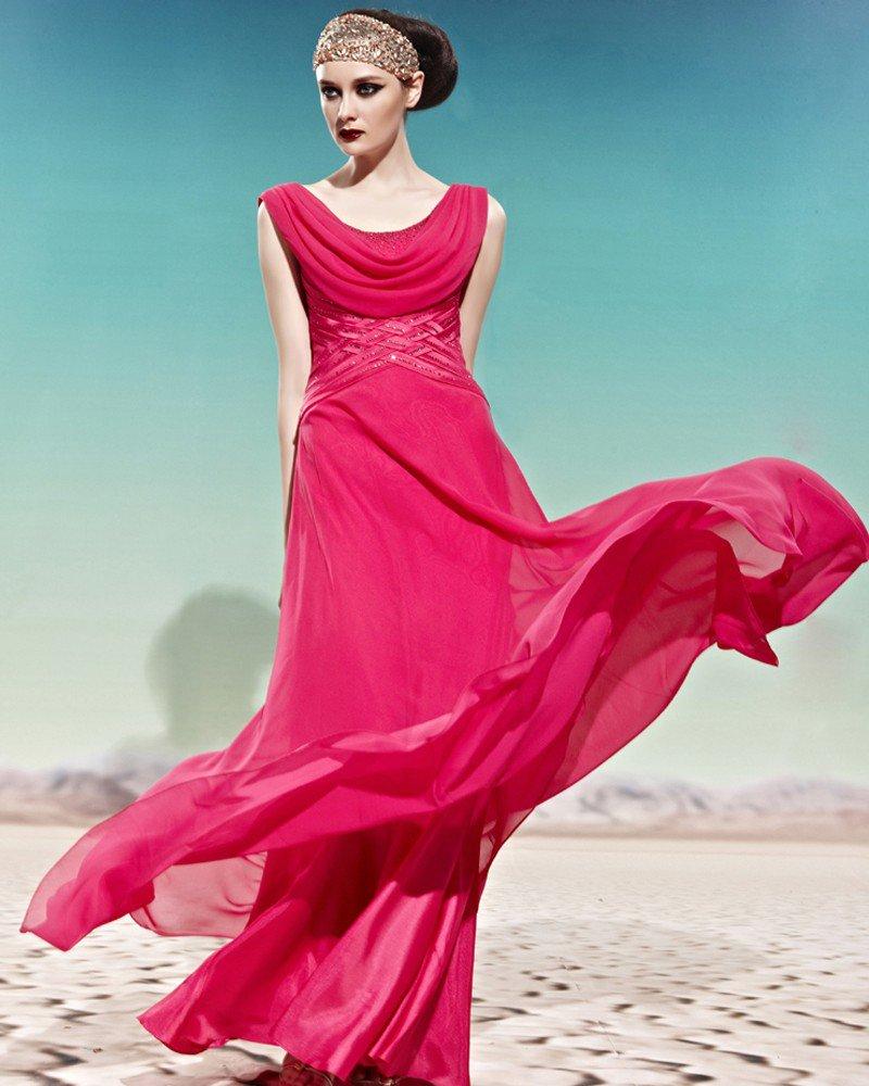 Sleeveless Scoop Tencel Floor Length Beading Woman Evening Dress