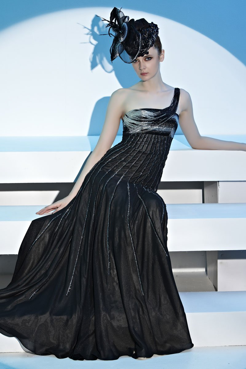 Strapless One Shoulder Beading Draped Zipper Sleeveless Chiffon Woman Evening Dresses