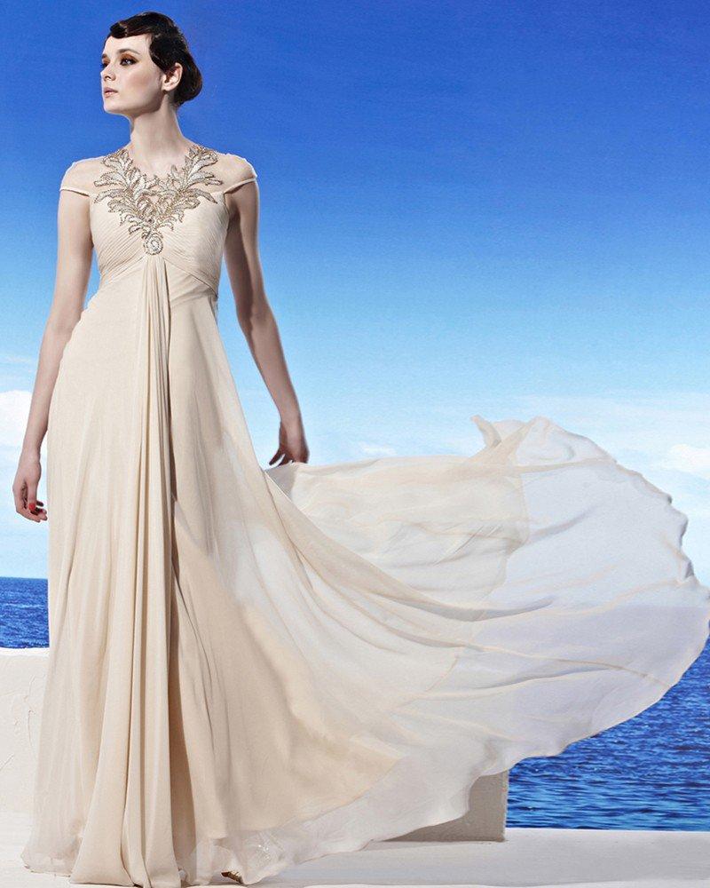Halter Neckline Floor Length Short Sleeve Beading Flower Empire Tencel Woman Evening Dress