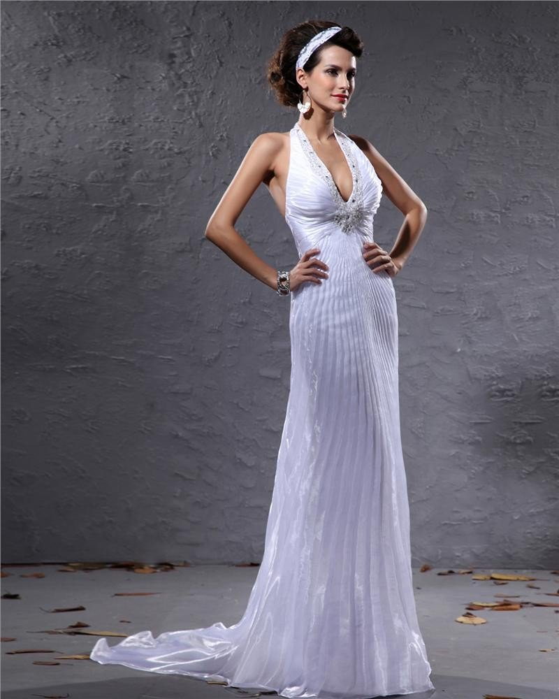 Fashion V-Neck Halter Beading Gauffer Floor Length Evening Dress