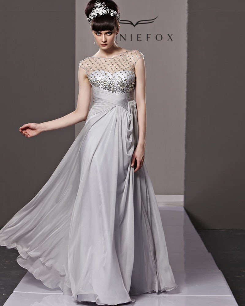 Scoop Neck Rhinestone Sleeveless Button Floor Length Tencel Woman Evening Dress